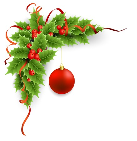 Christmas holly with berries and red ball. Vectores