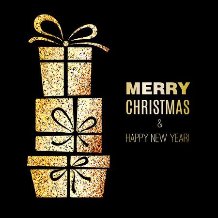 cajas navide�as: Caja de regalo con efecto brillo del oro. tarjeta de Navidad Vectores