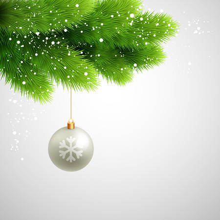pine decoration: Green Pine branches with white ball. Christmas tree decoration.