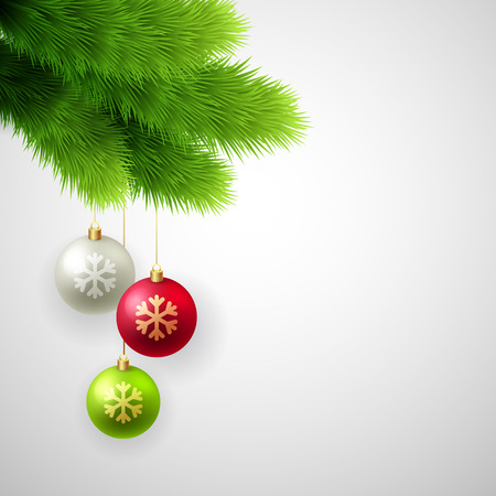 pine decoration: Green Pine branches with white, red and gold balls. Christmas tree decoration.