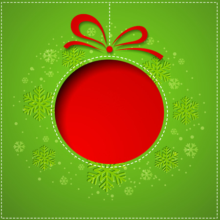 green ribbon: Abstract red Christmas balls cutted from paper on green background.