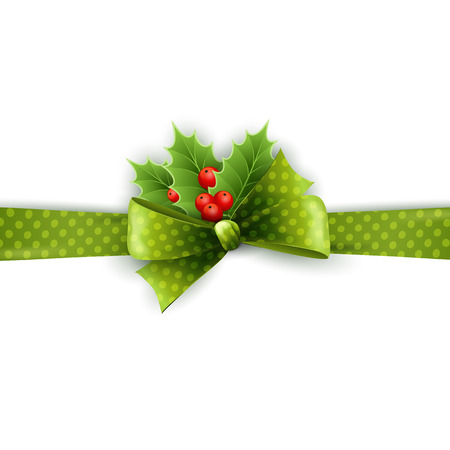 holly day: Christmas ribbon decoration with holly and polka dots green bow in white background Illustration