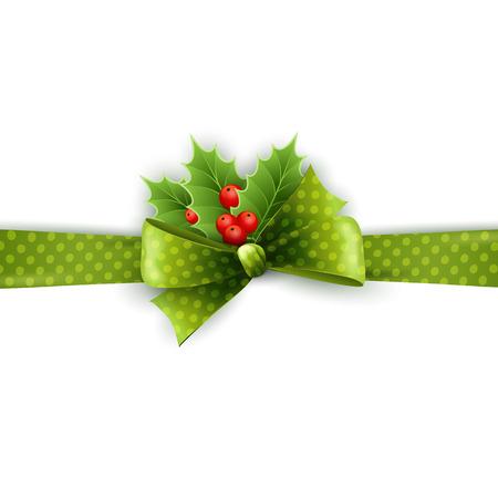 houx: ruban d�coration de No�l avec le houx et pois arc vert en arri�re-plan blanc