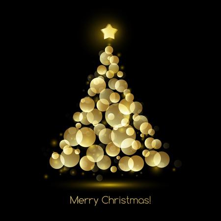 holiday season: Vector illustration gold Christmas tree.  Holiday background Illustration