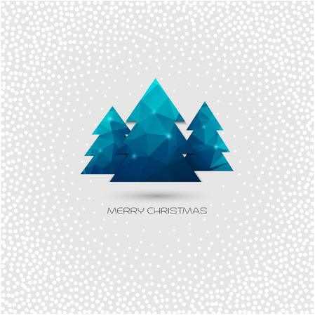 Christmas tree greeting card. Vector polygonal design