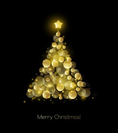 holiday background: Vector illustration gold Christmas tree.  Holiday background Illustration