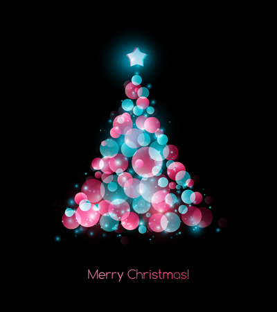 holiday background: Vector illustration color Christmas tree.  Holiday background