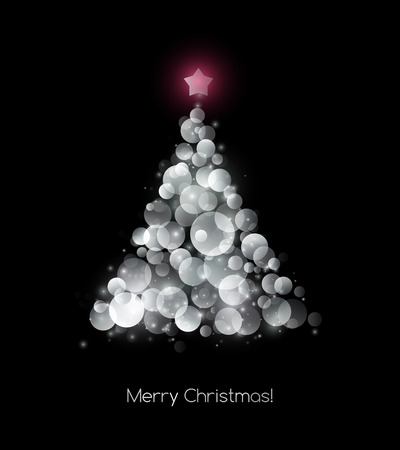 holiday background: Vector illustration silver Christmas tree.  Holiday background