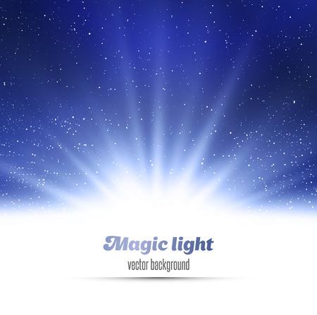 magic show: Abstract magic  light background. Blue holiday burst Illustration