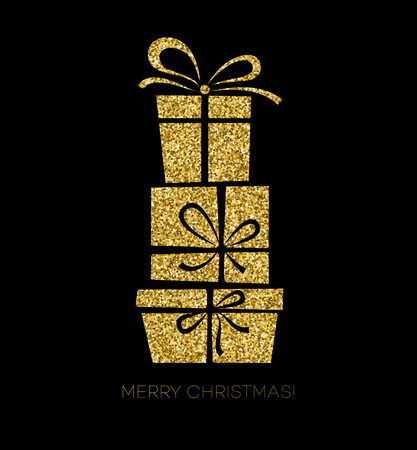 Vector illustration  gold Gift box. Christmas card