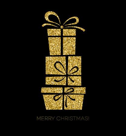 christmas gift box: Vector illustration  gold Gift box. Christmas card