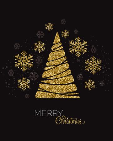 shiny gold: Vector illustration gold Christmas tree.  Holiday background Illustration
