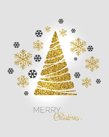 greetings from: Vector illustration gold Christmas tree.  Holiday background Illustration