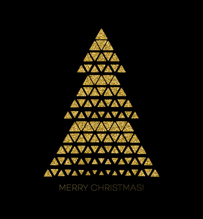christmas gold: Vector illustration gold Christmas tree.  Holiday background Illustration