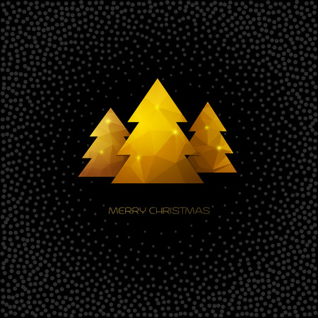 xmas background: Golden Christmas tree. Merry Christmas greeting card. Vector polygonal design