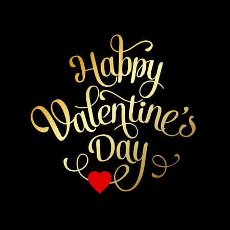 Valentines Card with lettering. Happy Valentine's Day Vettoriali