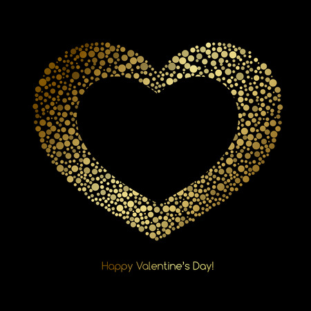 black banner: Valentines Card with glitter heart. Happy Valentines Day