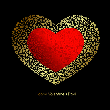glitter heart: Valentines Card with glitter heart. Happy Valentines Day