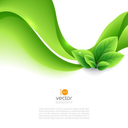 Vector eco leaves and green wave. Abstract ecology background Banco de Imagens - 53120021