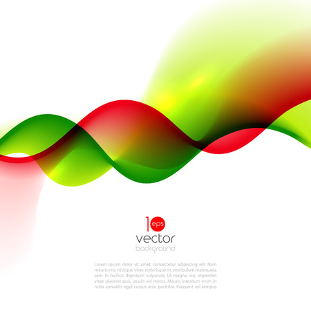 red green: Abstract motion smooth color wave vector. Curve red and green lines Illustration