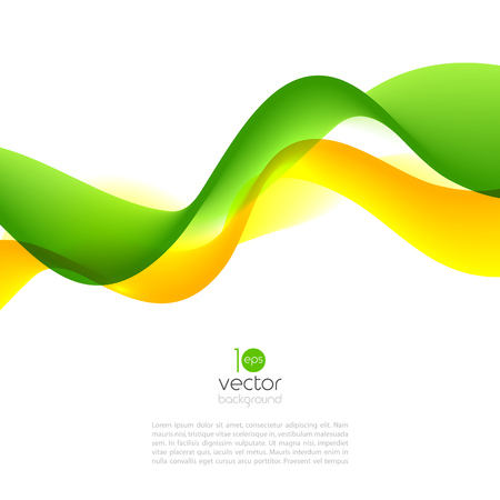 Abstract motion smooth color wave vector. Curve green and yellow  lines Illustration
