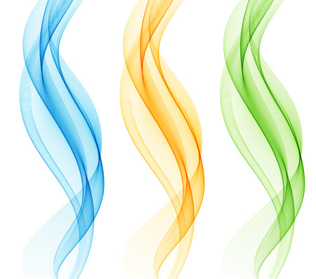Abstract motion smooth color wave vector. Set of Curve green, blue  and yellow  lines