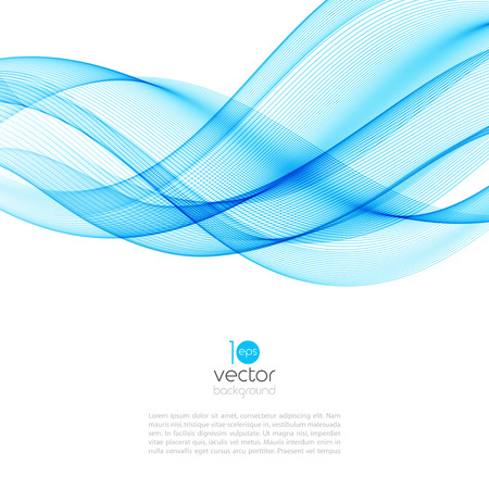 Abstract motion smooth color wave vector. Curve blue lines