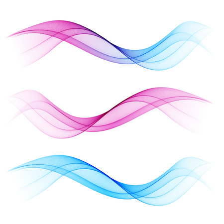 blend: Set of blend abstract wave. wavy smoke lines. Blue and pink color