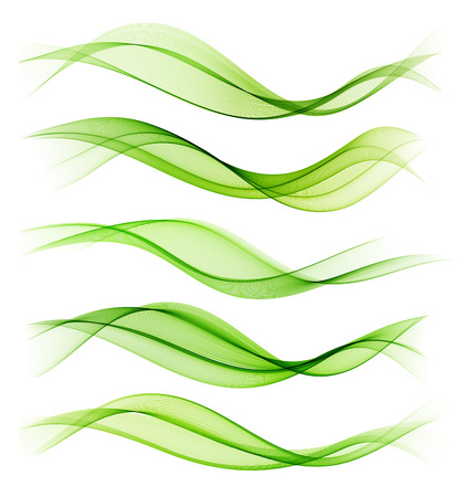 Set of blend abstract wave. wavy smoke lines. Green color