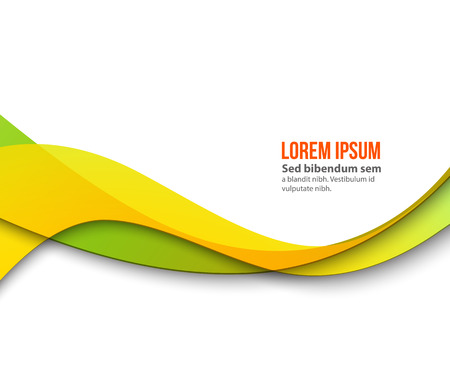 Abstract smooth color wave . Curve flow orange motion illustration. Orange and green wave Illustration