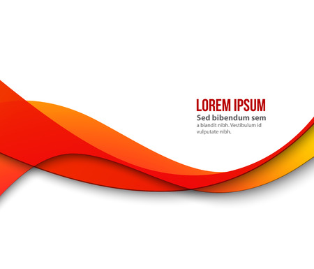 Abstract smooth color wave . Curve flow orange motion illustration. Orange wave Иллюстрация