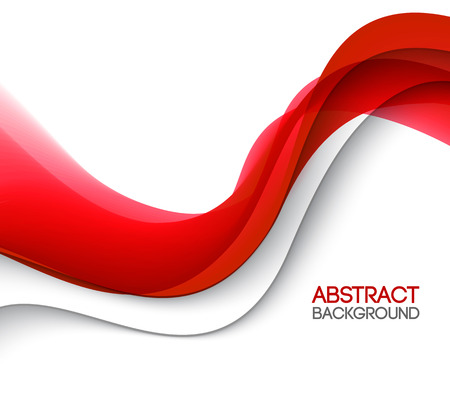 red and white: Abstract smooth color wave vector. Curve flow red motion illustration. Red wave