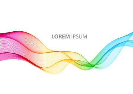 Abstract motion smooth color wave vector. Curve rainbow  lines
