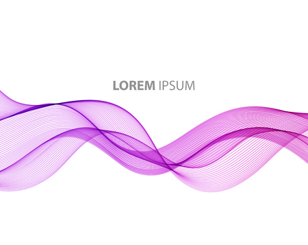 Abstract motion smooth color wave vector. Curve purple lines