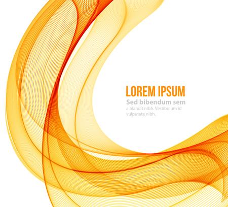 mouvement abstrait vecteur lisse vague couleur. orange courbe et lignes jaunes