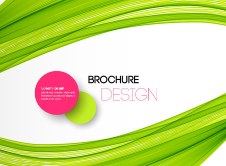 Abstract green wavy lines. Colorful vector green wave background. For brochure, website design