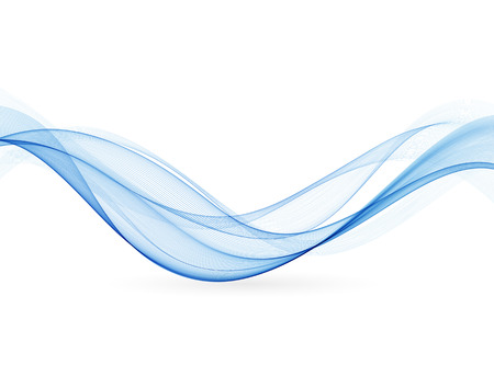 Abstract blue wavy lines.  Colorful blue wave vector background. Brochure or website design.