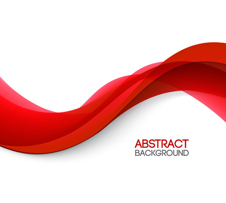 Abstract smooth color wave vector. Curve flow red motion illustration. Red wave