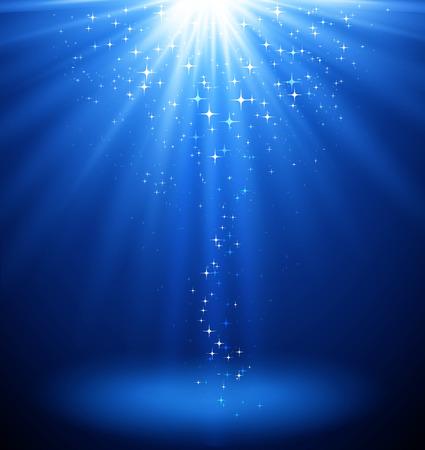 Streszczenie magiczne światło tła. Niebieski wakacje wybuch. plama światła Ilustracje wektorowe