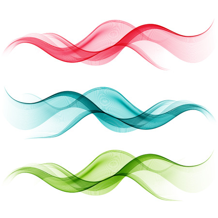 Abstract motion smooth color wave . Set of Curve green, blue and red lines