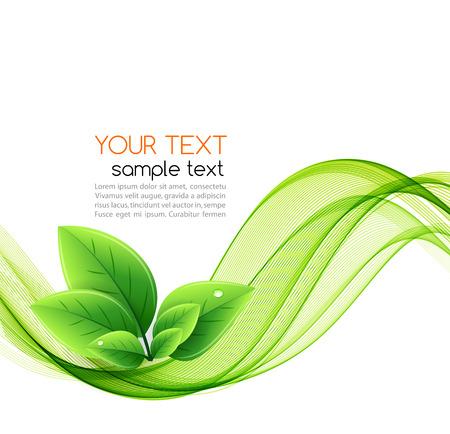 Vector eco Blätter und grüne Welle. Abstrakte Ökologie Hintergrund Vektorgrafik
