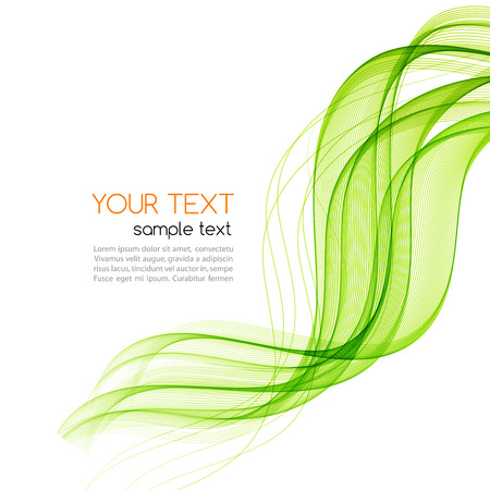 Abstract motion smooth color wave vector. Curve green lines