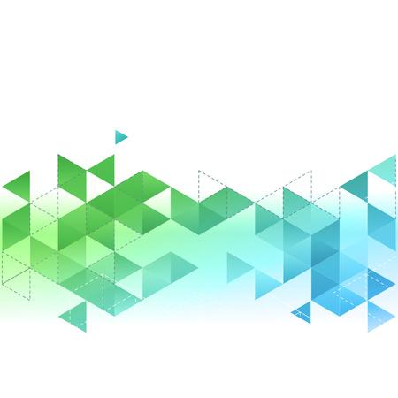 triangulo: Fondo del modelo del vector abstracto con el triángulo azul y verde. Para el folleto, cubierta, diseño de folletos