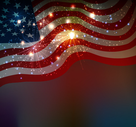blue stars: Fireworks background for 4th of July Independense Day
