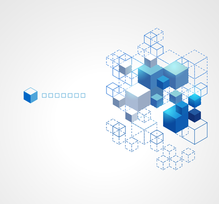 abstract cubes: Abstract blue cubes background. Illustration