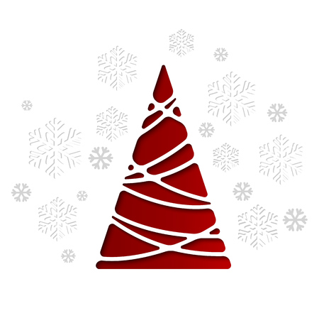 Vector illustration Christmas tree. Holiday background with snowflakes