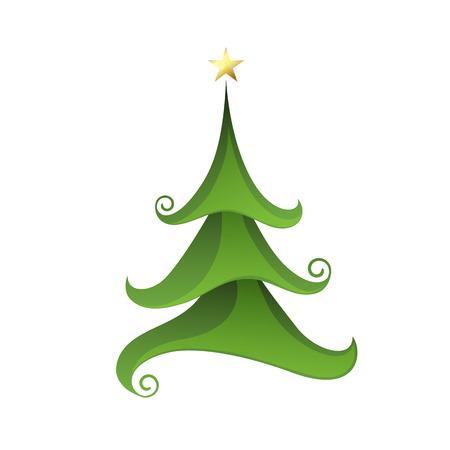 Merry Christmas tree isolated on white. Vector illustration EPS10 Ilustração