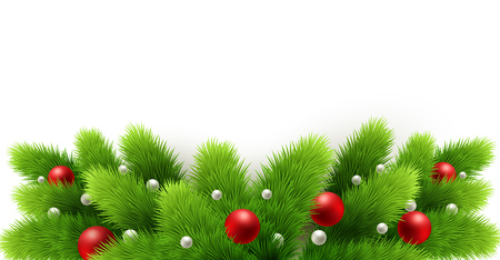 Winter holiday background. Border with Christmas tree branches isolated on white. Garland, frame with hanging baubles.