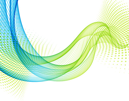 Abstract vector background with blue and green smooth color wave. Blue wavy lines Stock Illustratie
