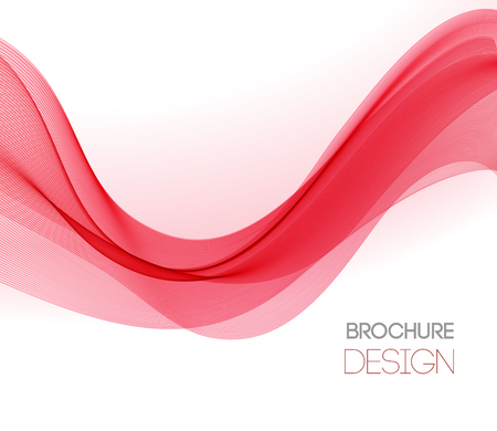 Abstract vector background with red smooth color wave. Color wavy lines